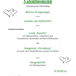 Unser Valentins- Menü für morgen Abend 💚